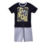 Genius Boys T-shirt With Bermuda Set, Black/Grey-SIMG21422B