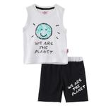 Smart Baby Baby Boy T-Shirt With Bermuda Set, White/Black - SNGS2034947