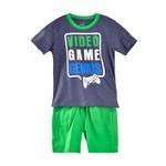 Genius Boys T-shirt With Bermuda Set, Blue Milange/Green-SIMG21429BLUE