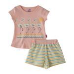 Smart Baby Baby Girl T-Shirt With Bermuda Set, Peach/White - SNGS2035212
