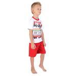 Genius Boys T-shirt With Bermuda Set, White/Red-SIMG21435W