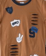 Genius Boys T-shirt With Bermuda Set , Fawn/Navy - MCGSS201017
