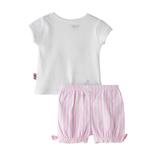 Smart Baby Baby Girl T-Shirt With Bloomer Set, White/Pink - SNGS2035227