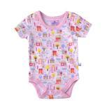 Smart Baby Baby Girls Printed Bodysuit,White/Pink-BIGS20SG552LPNK
