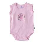 Smart Baby Baby Girls Plain Bodysuit, White/Pink-BIGS20SG552MPNK