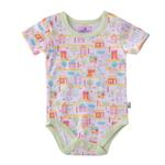 Smart Baby Baby Girls Printed Bodysuit,White/Pista Green-BIGS20SG552LGRN
