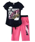 Genius Girls T-shirt With Capri Set, Navy /Pink-SNGSS2137497