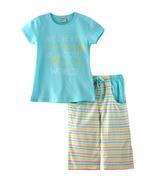 Genius Girls T-shirt With Capri Set , Sky Blue/Multi- SNGSS2137521