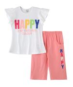 Genius Girls T-Shirt With Capri Set ,White/Pink -SNGSS2137495