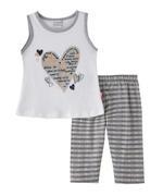 Genius Girls T-shirt With Capri Set , White/Grey- SNGSS2137378