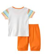 Smart Baby Baby Boys Striped T-shirt With Capri Set , Multi/Orange - SNGSS2137786