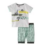 Smart Baby Baby Boys Capri Set,White/Light Green,SNGS2035033