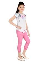 Flower Girl Girls Knit Top With Capri Set,White/Pink-MCG804