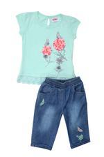 Smart Baby Baby Girl T-shirt With Denim Capri Set , Mint/Dark Blue - MCGSS201884