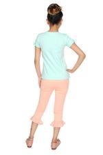 Genius Girls T-shirt With Capri Set , Mint/Peach - MCGSS218300