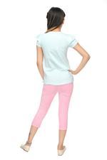 Genius Girls T-Shirt With Capri Set , Mint/Light Pink - MCGSS218310