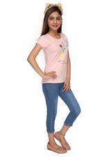 Genius Girls T-shirt With Capri Set , Peach/Denim Blue - MCGSS218240