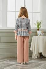 Le Crystal Girls Top With Culottes , Grey/Pink
