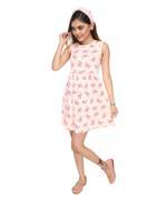 Flower Girl Girls Printed Dress , Peach - MCGSS201592