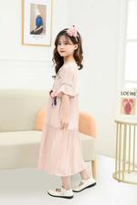 Le Crystal Girls Party Dress , Pinkish Brown -GEGS21DG8083