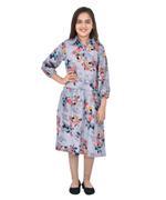 Flower Girl Girls Printed Long Shirt Dress , Dark Grey - KFGSS211668A