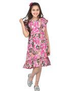 Flower Girl Girls Printed Dress , Multi - KFGSS211663A