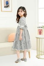 Le Crystal Girls Party Dress , Grey/White - GEGS21DG8081