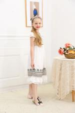 Le Crystal Girls Party Dress , White - GEGS21DG8080