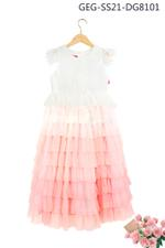 Le Crystal Girls layered Party Dress , White/Pink - GEGS21DG8101