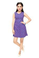 Genius Girls Printed Dress , Navy - MCGSS201589