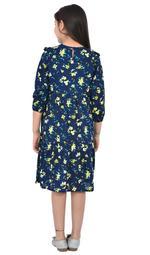 Flower Girl Girls Printed Dress , Navy - KFGSS211760A