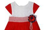 Smart Baby Baby Girls Frock , White/Red - SIMGS21NV7022