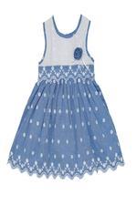 Smart Baby Baby Girls Frock , White/Light Blue - SIMGS21NV7070