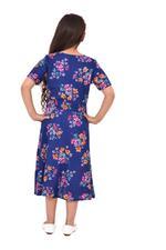 Flower Girl Girls Printed Dress,Navy,KFGS201520P1