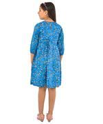 Flower girl Girls Printed Dress, Turquoise-KFGAW211903A