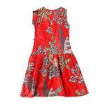 Flower Girl Girls Printed Dress,Red - KFGSS201536