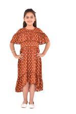 Flower Girl Girls Printed Dress,Copper - KFGSS201523