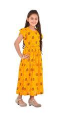 Flower Girl Girls Printed Maxi Dress,Yellow - KFGS201557P2