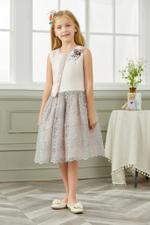 Le Crystal Girls Party Wear Dress,Pink/Grey,GEGSS2020142