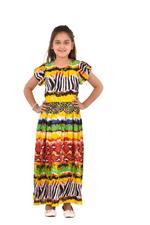 Flower Girl Girls Printed Maxi Dress,Multi -KFGS201557P4