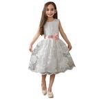 Le Crystal Girls Party Wear Dress, White- GEG1801065