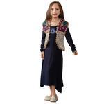Nexgen Girls Party Wear Dress with Short Jacket,Beige/Navy -GEG1801122