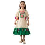 Nexgen Girls Party Wear Dress,Beige/Green GEG1801120-GEG1801120