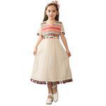 Nexgen Girls Party Wear Dress,Beige GEG1801121-GEG1801121