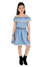 Flower Girl Girls Denim Dress,Denim Blue-MCG367G19