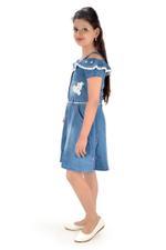 Flower Girl Girls Denim Dress , Denim Blue-MCG366G19
