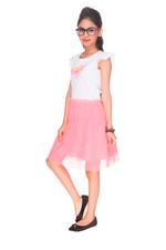 Pink Panther Girls Stylish Dress, White/Pink-HWGLPP34