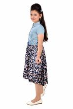 Flower Girl Girls Printed Dress , Blue-MCG794