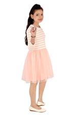 Flower Girl Girls Stripe Glitter Tutu Dress,White/Peach-MCG1237