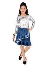 Flower Girl Girls Styish Dress,White/Denim Blue-MCG1111